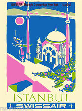 Istanbul Turkey by Airplane Swiss Vintage Travel Art Advertisement Poster