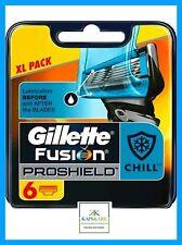 Gillette Fusion PROSHIELD Chill 6 hojas de afeitar XL Pack - 100% Auténtico-Libre P&P