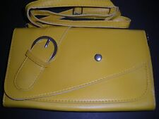 NEW Bright Yellow Faux Leather Purse Wristlet To Shoulder Bag Women's Pretty