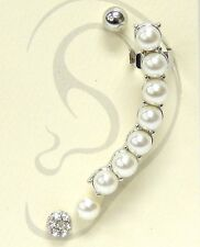 Silver and White Faux Pearl FASHION Ear Cuff
