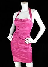 Betsey Johnson Sz 0 XS Dress Pink Satin Halter Wiggle Retro Pinup NWT $328