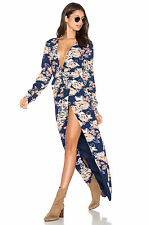 NWT $228 LOVERS + FRIENDS MY LOVE WRAP MAXI DRESS BEACH SUMMER SEXY FLORAL S