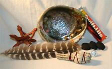 Turkey Smudging Feather Abalone Shell Charcoal Tablets Wood Stand White Sage LOT