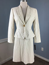 NEW Isabella DeMarco Tahari Biege Ivory Skirt Suit 6 P $269 Career Cocktail