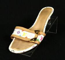 LOUIS VUITTON White Monogram Multicolore Slides Sandals 36.5