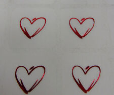50 Single Red Heart Stickers Envelope Seals