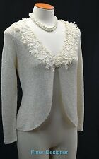 Doncaster cream cardigan sweater knit top Duster shrug shaggy ruffle silk XS VTG