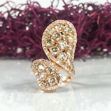Black Friday Sale 3.72tcw 14K Rose Gold Fancy Brown Diamond Paisley Wrap Ring