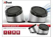 NEW TRUST 2.0 LUMA USB POWERED POWERFUL SOLID ALUMINIUM PC COMPUTER SPEAKER SET