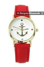 ladies navy anchor gold tone casual fashion watch red leather nautical boat