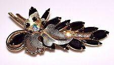 Vintage JULIANA Delizza and Elster D&E Black Glass Rhinestone Leaf Brooch