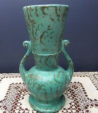 Rum Rill Pottery Turquoise Textured Stone Pattern Handled Vase  #502