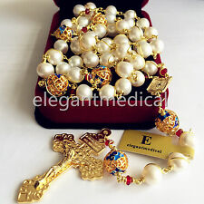 plated 14K gold Wire Wrapped Bead AAA White 10mm Pearl Rosary Cross NECKLACE BOX