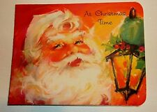 Vtg 50's Christmas GREETING CARD  Santa Claus  LANTERN  Money Card Forget Me NOT
