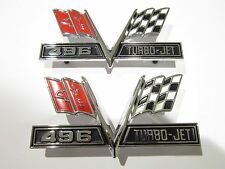 Big Block Chevrolet Chevy 496 Turbo Jet Crossflag Fender Emblems