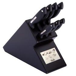 Klarstein Katana 8 Messerblock braun Massivholzblock Edelstahl Fleischmesser Profi Messer-Set Brotmesser Wetzstahl 8-teilig Kochmesser Allzweckmesser Schere Sch/älmesser