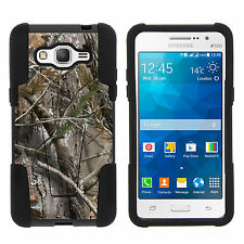 Samsung Galaxy Grand Prime Gel Shell Black Stand  Hard Case Tree Bark Camo