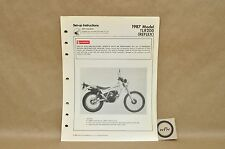Vtg 1987 Honda Reflex TLR200 Set Up Assembly Pre Delivery Instruction Manual
