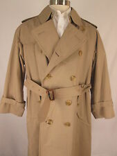 Burberry Mens Khaki Double Breasted Trench Coat 40S England Made