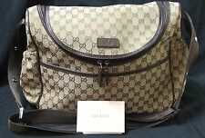 USED-A+ Gucci 510/GG BROWN TRIM DIAPER BAG  123326 MSRP $975
