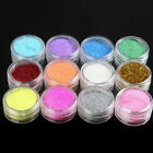 12 Colors set Glitter Metal Nail Art Tool Kit Acrylic UV Powder Dust gem