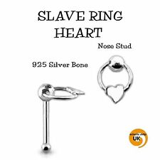 Sterling SILVER Heart Slave Ring 5mm NOSE STUD 26g (0.4mm) x 6mm Ball End