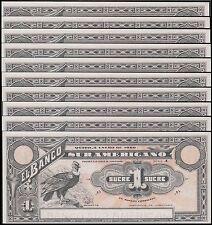 Ecuador 1 Sucre X 10 Pieces, 1920, P-S251r, UNC, Banco Sur Americano, Remainder