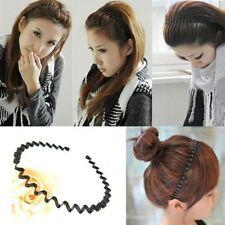 Mens Women Unisex Black Wavy Hair Head Hoop Band Sport Headband Hairband //