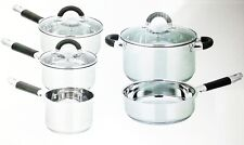 5PC INDUCTION STEEL CASSEROLE MILK PAN FRY SAUCEPAN GLASS LID COOKWARE POT SET Y