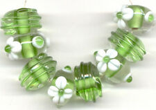 8pcs Lampwork Glass Beads Handmade Green White Daisy Loose Rondelle Spacer Craft