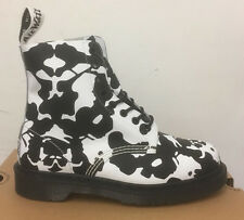 DR. MARTENS PASCAL BLACK+WHITE INK BLOT BACKHAND  LEATHER  BOOTS SIZE UK 4