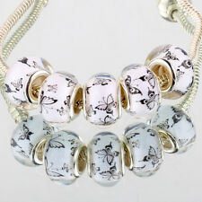 5pcs Silver MURANO GLASS BEAD LAMPWORK fit European Charm Bracelet Women