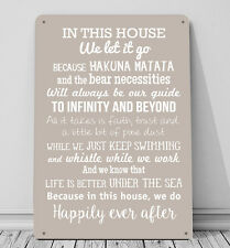 In this House We do, Disney inspired A4 Metal sign plaque wall art home decor