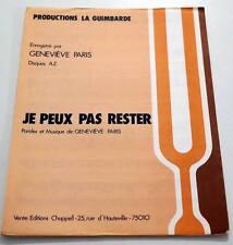 Partition vintage sheet music GENEVIEVE PARIS : Je Peux Pas rester * 70's