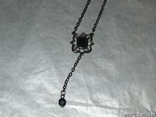 PRETTY BLACK METALLIC FINISH ACRYLIC STONE SET DROPLET NECKLACE A