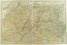 c 1890 Map of Virginia & West Virginia by Cram ~ Color Lithograph Engraving + MD