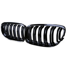 Shiny Black Dual Fin Kidney Front Grille For BMW E90 E91 LCI Facelift 2008-2012