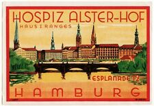 Hotel Alster-Hof HAMBURG Germany luggage label Kofferaufkleber
