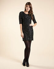 £65 NWT MONSOON LOTUS BLACK SILVER SEQUIN JUMPER DRESS S SMALL UK 8 10 4 6 36 38