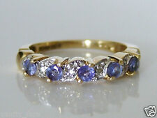 Beautiful 9ct Gold Tanzanite & Diamond Eternity Style Ring Size M