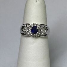 Platinum Oval Sapphire Diamond Estate Ring - Size 6.25