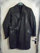 VINTAGE 70,S GERMAN POLICE FORCE DOUBLE BREASTED LEATHER JACKET SIZE M RIRI ZIP