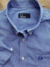 FRED Perry da uomo L Large 40-42 slim fit blu a maniche corte Gingham Check camicia