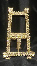Vintage Antique Solid Brass Ornate Easel Table Top Picture Collectibles Holder
