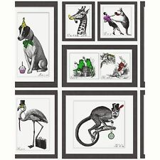 MAD DOGS FRAMED ANIMALS 10m WALLPAPER (97921) HOLDEN DECOR NEW