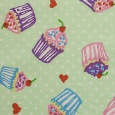 Green 100% Cotton SML Cupcakes Hearts Polka Dot Fabric