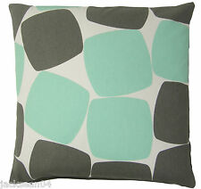 "PEBBLES MINT GREEN SILVER WHITE 100% COTTON CUSHION COVER 17""- 43CM"