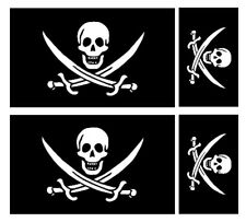 4 X  FLAG OF CALICO JACK RACKHAM PIRATE VINYL CAR VAN IPAD LAPTOP STICKER