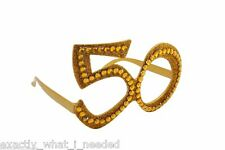 Gold 50th Birthday Novelty Fun Gift Party Clear Vew Sunglasses Bling Age Glasses