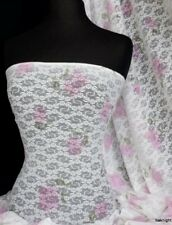 White/ Pink Lace Floral Stretch Fabric SQ81 WHTPN